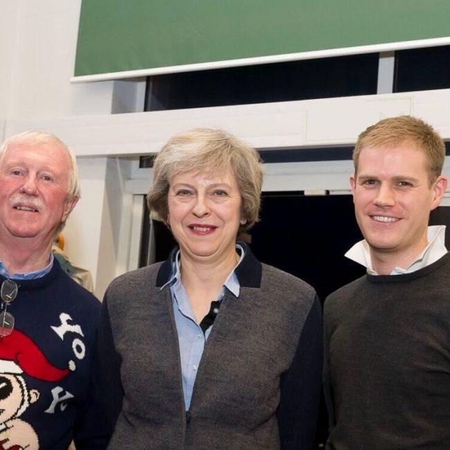 Theresa May and organisers at Be A Santa For A Senior 2016